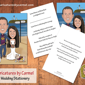 Caricature wedding invitations by Caricatures by Carmel