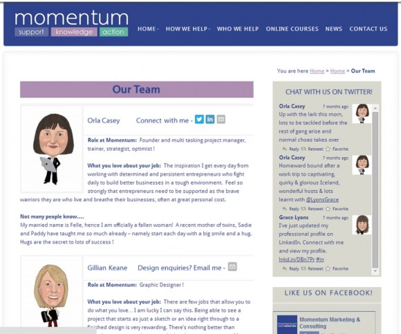 Meet the Team page of a website using caricatures created by Carmel