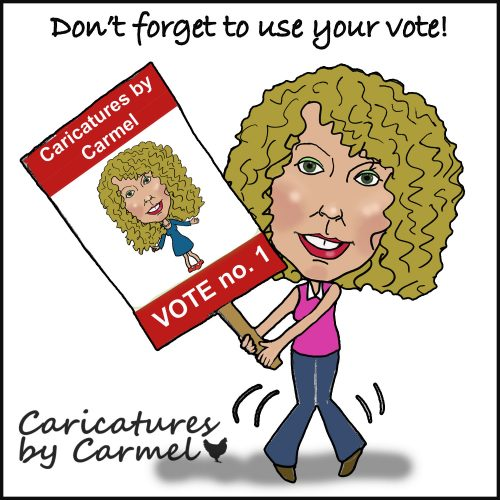 Caricature about not forgetting to get out and vote
