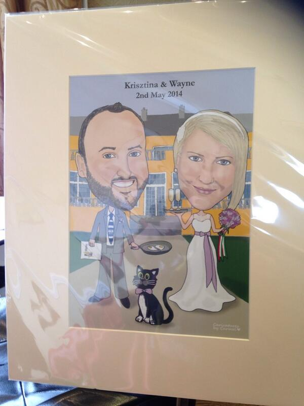 Krisztina & Wayne's Caricature Guest Signing Board