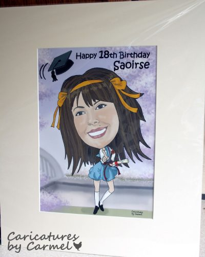 Caricature Guest Signing Board of Saoirse