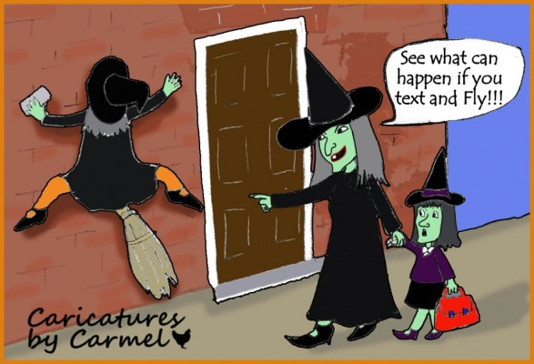 Witches, don't text and fly cartoon
