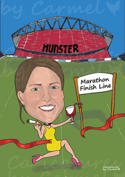 Caricature created for a Hen Party for a bride who is a Munster rugby fan, loves her wine and cigarettes and running.