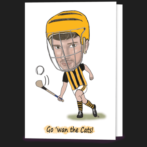 Kilkenny caricature hurling card created by Caricatures by Carmel. Greeting Card. Irish designed and made.
