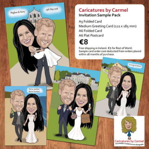 Caricatures by Carmel sample wedding invitation pack