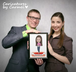 Framed caricature awards by Caricatures by Carmel