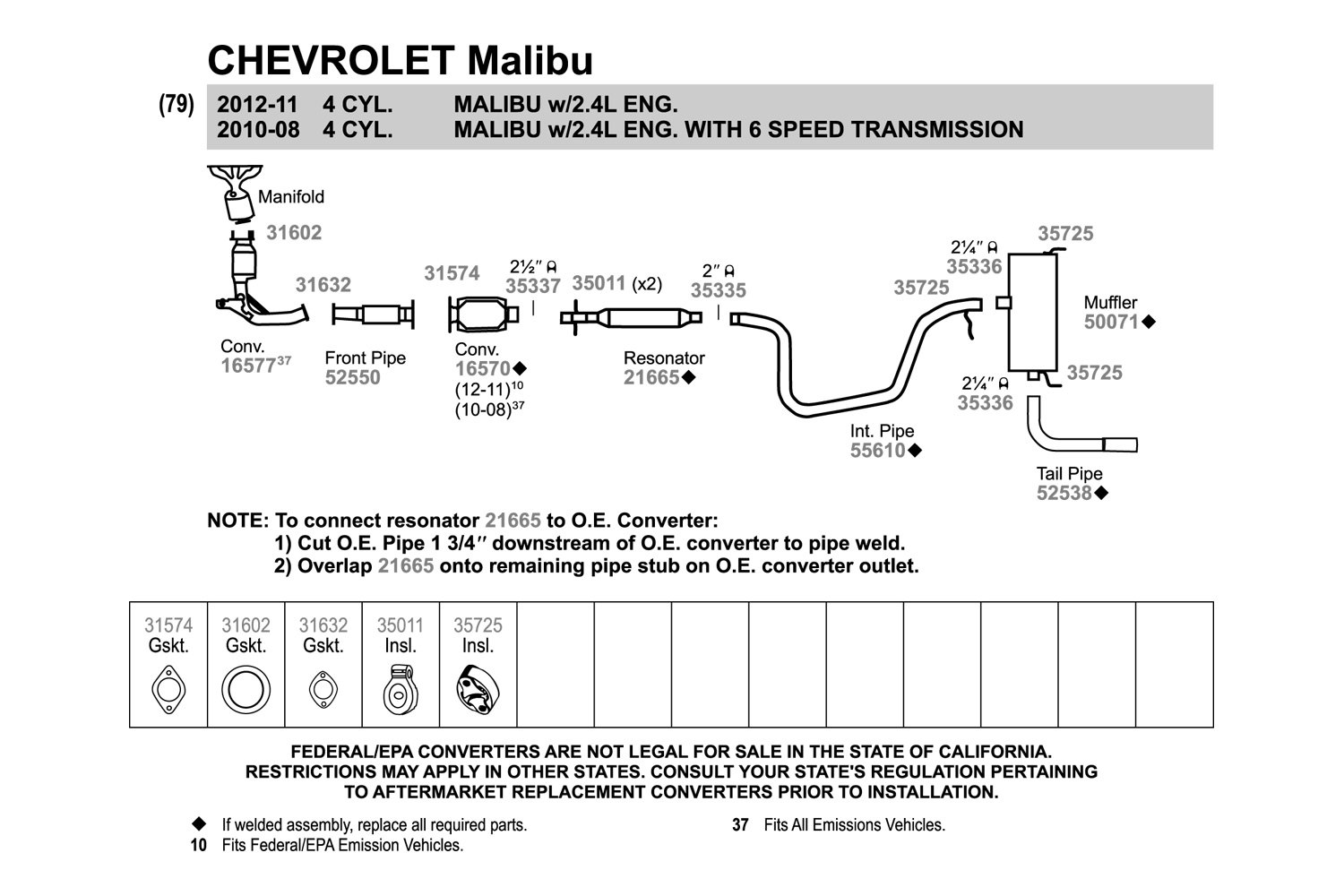 2001 chevy impala exhaust system diagram fios telephone wiring walker 55610 aluminized steel intermediate pipe