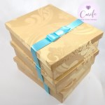 Caixas para padrinhos casamento Dourada com azul