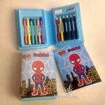 Lembrança estojo Colorir com livrinho-homem aranha-Bruno 4 anos