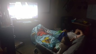It's like a theater in my son's room... lol