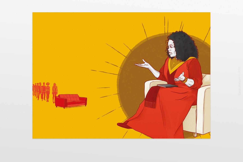 Ritratto di Oprah Winfrey per Mogana di Michela Murgia e Chiara Tagliaferri, illustrazione di Carin Marzaro