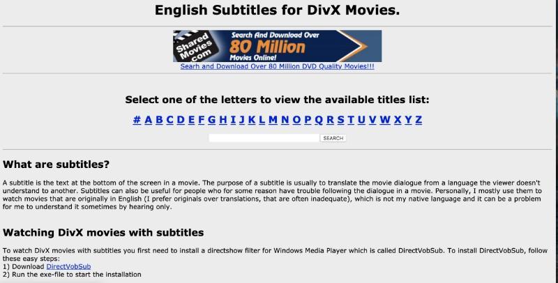 Subtitle for Divx dan DVD Movie