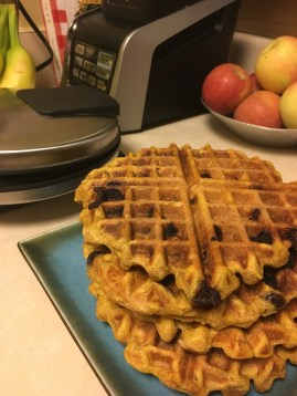 The whole stack with chocolate chip waffles on top!
