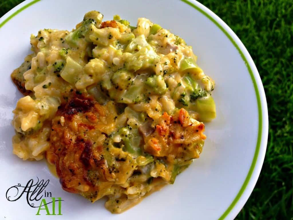 Cheesy Broccoli Rice Casserole All In All