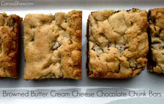 http://www.carissashaw.com/2014/12/browned-butter-cream-cheese-chocolate-chunk-bars.html
