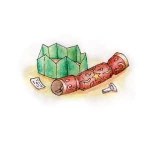 Xmas watercolours - Cracker & contents