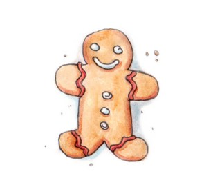 Xmas watercolours - Gingerbread Man