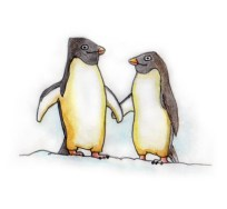Xmas watercolours - Penguins