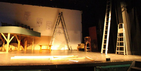 New Bradford Playhouse stage, mid-set-construction