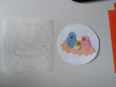 Finished felt picture, next to tracing