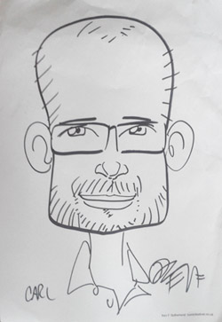 Caricature of Carl Mitchell by Kev F Sutherland