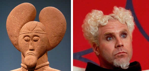 (left) Lord of Glauberg statue (right) Mugatu