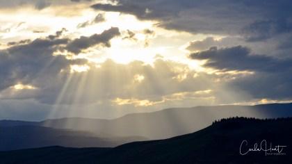 Spilling light. Sun setting, shot from the Allan Brooks Nature Centre, Vernon, BC
