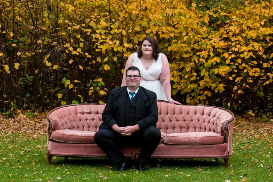 Couple with antique couch