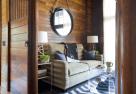 leather mirror + wood + chevron rug + liz caan