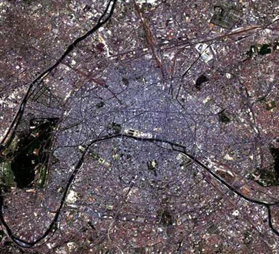 Photo satellite de Paris