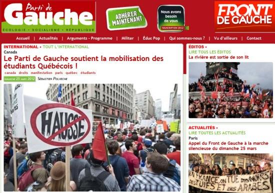 Le Parti de Gauche soutient la mobilisation des étudiants Québécois !