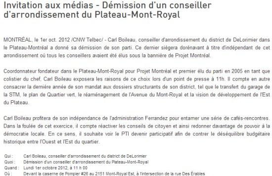 Démission de Carl Boileau