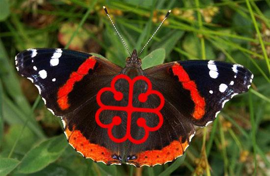 Le papillon Vulcain et le logo de Montréal