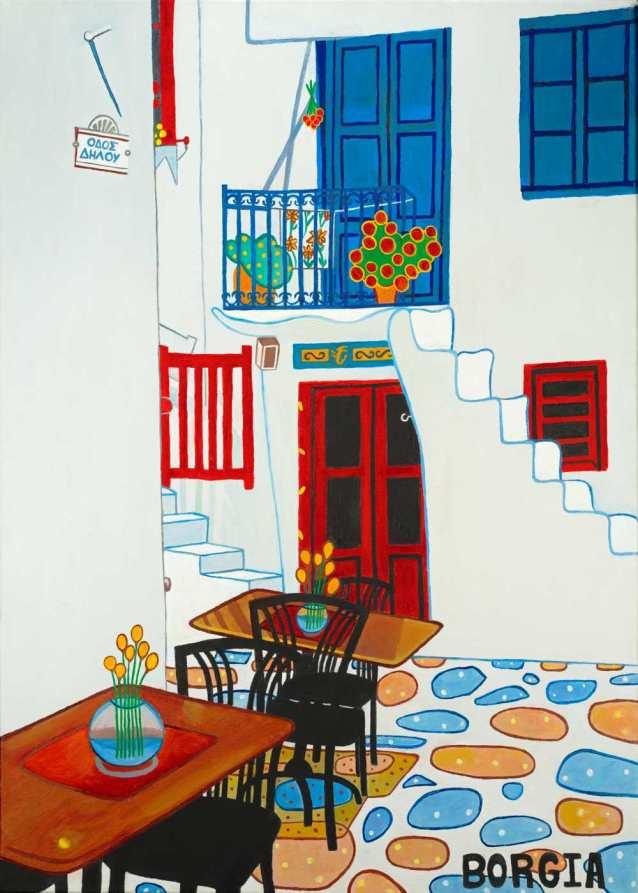 Dhloy Street Mykonos, 35 x 25 inches