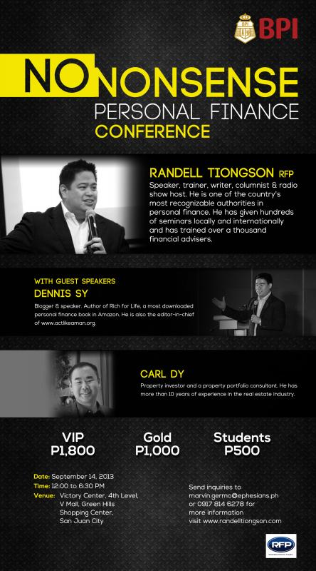 No Nonsense Personal Finance Conference - Sept 14 at Greenhills