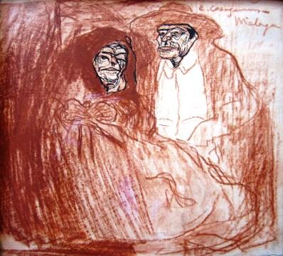 Parella de vells - 1901 - Sanguina i tinta sobre paper - 16 × 18,5 cm - col·lecció privada