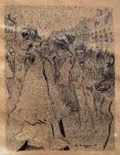 Passeig pel boulevard - c. 1899-1900 - litografia i tinta sobre paper - 17 x 13 cm [paper sencer 33 x 18 cm] - Col·lecció privada