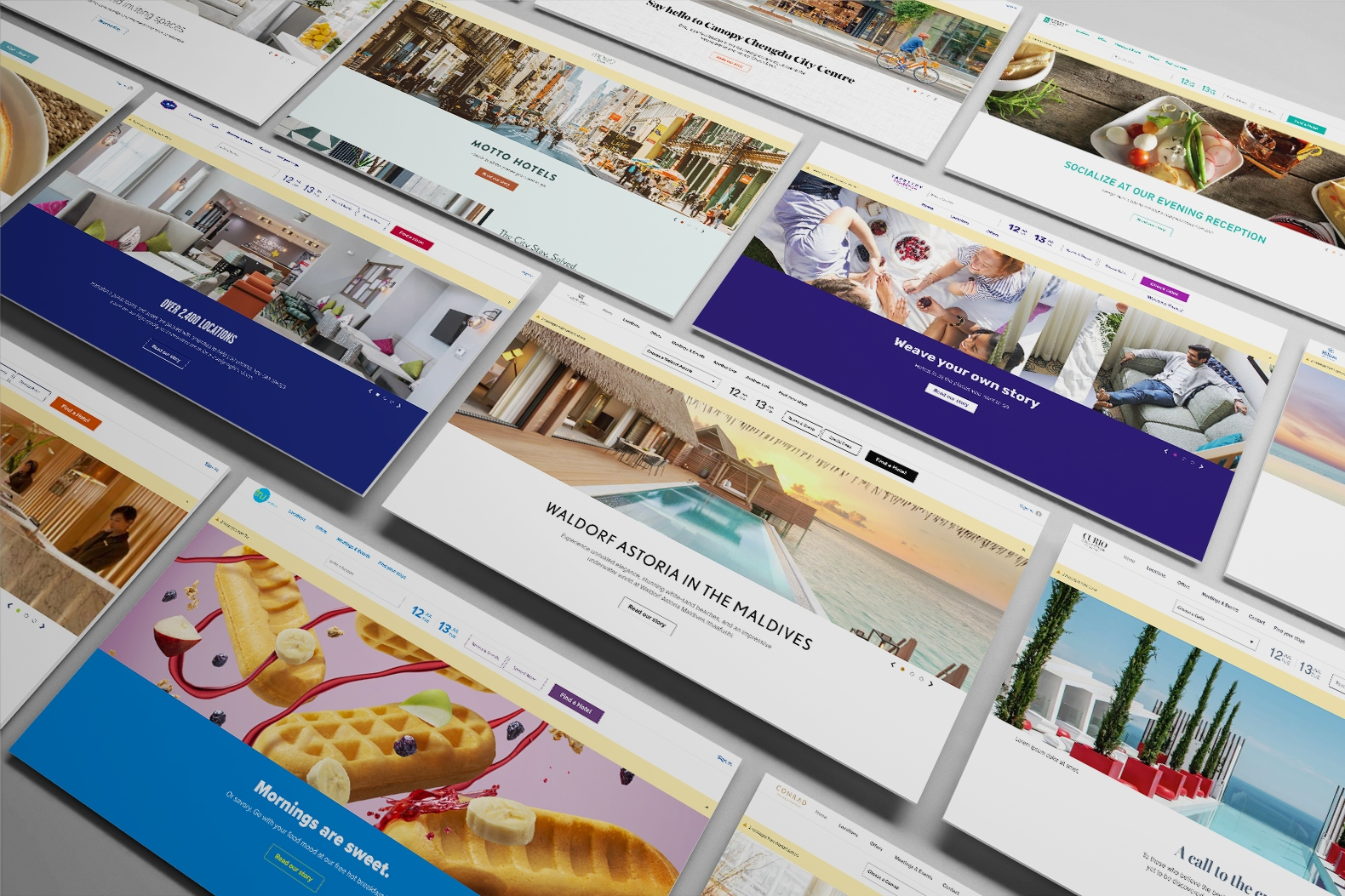 Angled composite of all fourteen of Hilton's brand websites