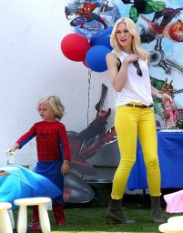 Gwen Stefani and her boys enjoy a kid's birthday bash in Sherman Oaks