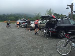 A foggy start to the day in the parking lot of Devil's Backbone Brewing Company at Wintergreen