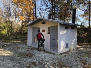 There is a rest room and picnic table near the end of the High Bridge Trail at Pamplin