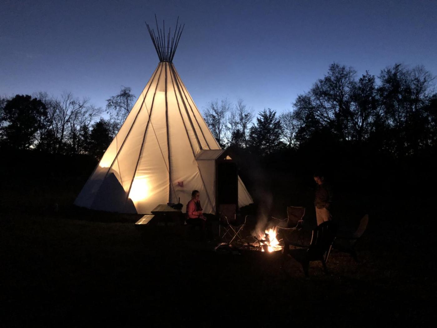 Our Tipi. Sandy River Adventures is just outside Farmville. They offer glamping in Tipis. We had to try it.