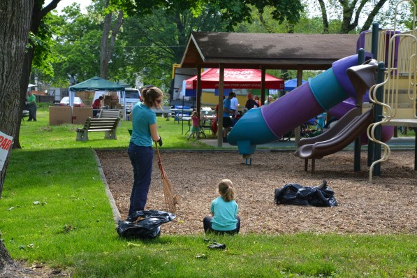 Weeding playground area