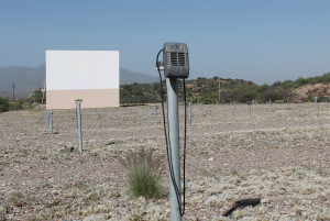 At the Apache Drive-In, the screen with one speaker in the foreground