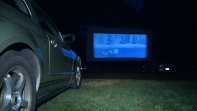 Pleasant Valley Drive-In at night