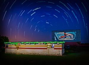 Blue Moonlight Drive-In at night