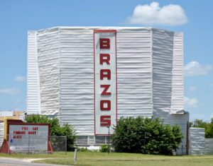 Brazos Drive-In screen and marquee