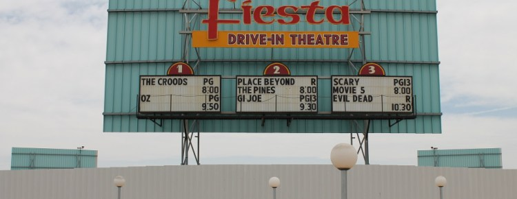 Fiesta Drive-In marquee, mounted on the back of its main screen