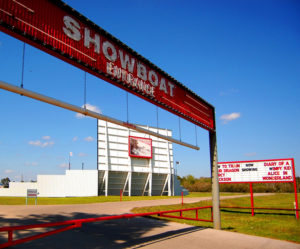 Showboat Drive-In entrance and marquee