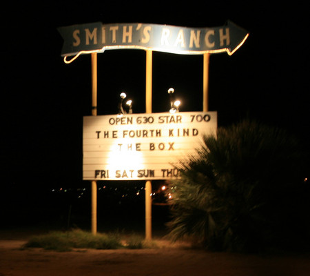 Smith's Ranch marquee eerily lit at night